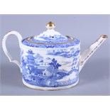 """An 19th Century Miles Mason bone china unmarked """"Willow"""" pattern oval teapot with gilt detail"""