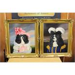 A PAIR OF GILT FRAMED OIL PAINTINGS OF DOGS DRESSED IN 18TH CENTURY COSTUME (2)