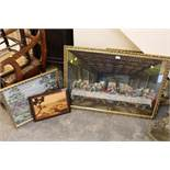 A QUANTITY OF PICTURES AND PRINTS TO INC A LARGE GILT FRAMED TAPESTRY OF THE LAST SUPPER