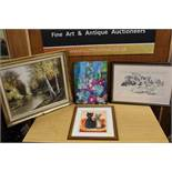 A SELECTION OF PICTURES AND PRINTS TO INCLUDE A MIXED MEDIA PAINTING OF TWO CATS IN A BASKET