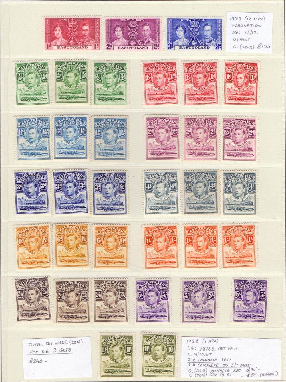 Lot 2 - STAMPS : BRITISH AFRICA, mint collection in album inc Basutoland GV 1933 set & GVI 1938 set (2),