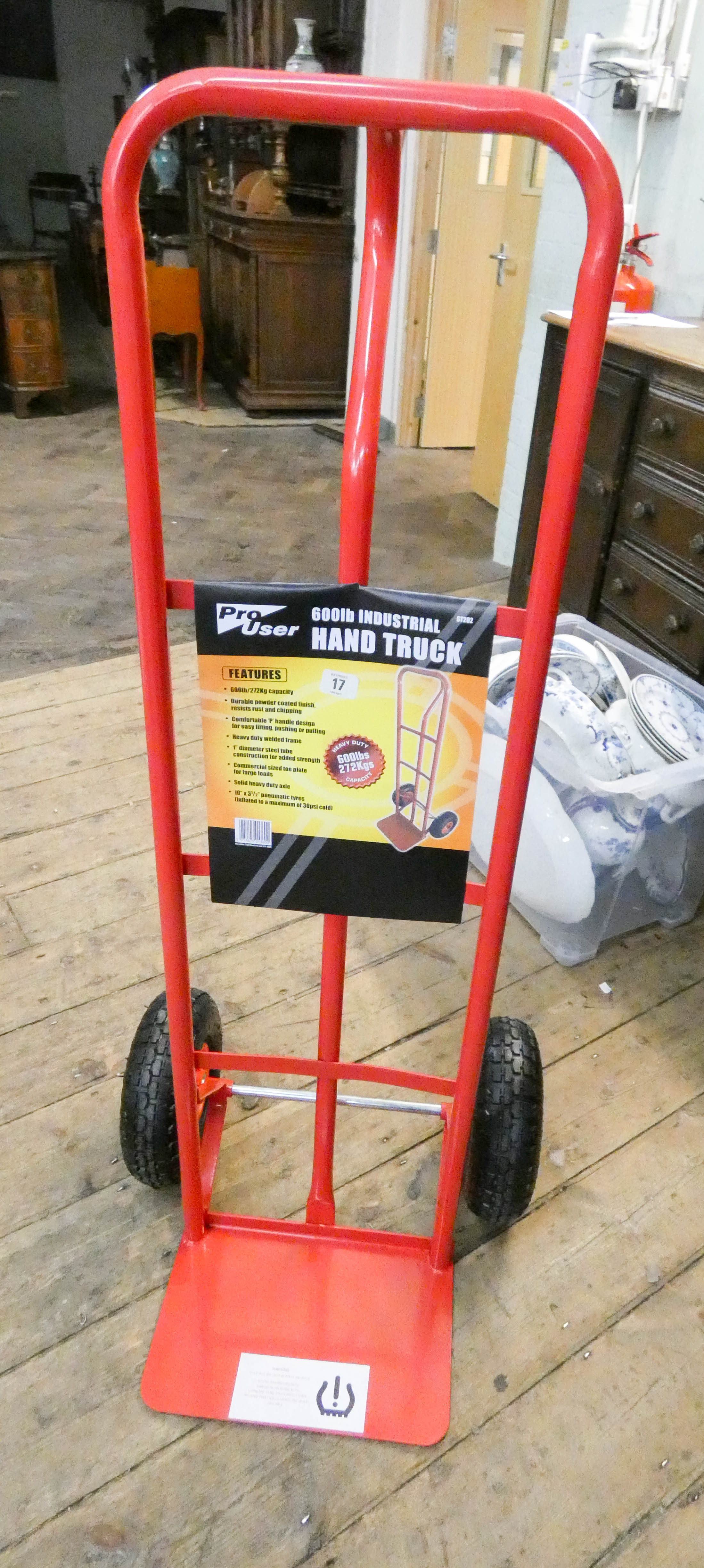 Lot 17 - A new 600lbs work load industrial sack truck with pneumatic tires