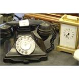Battery-operated carriage clock & vintage telephone