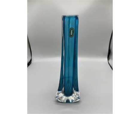 Whitefriars blue spill vase still with original sticker