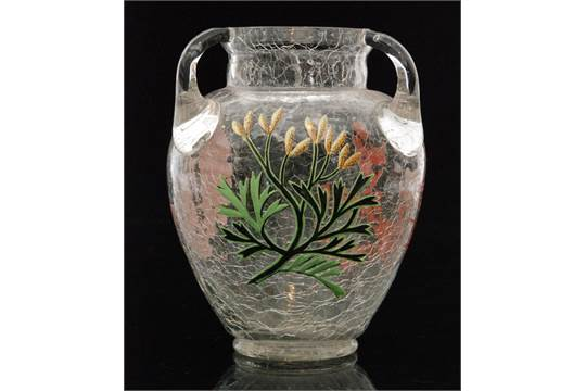 A late 19th Century Harrach glass vase of amphora form with