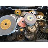LOT OF GRINDING WHEELS, CUTTER BLADES, AND GRINDING STONES