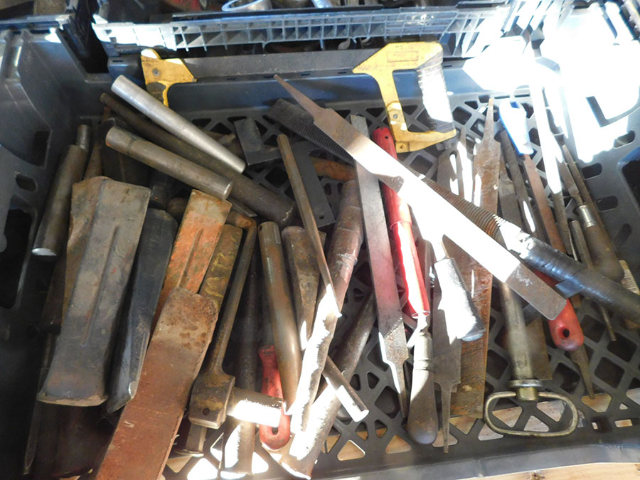 LOT OF STEEL BRUSHES, FILES, AND STEEL WEDGES - Image 2 of 3
