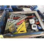 LOT OF ASSORTED TAPE MEASURES, STRAIGHT EDGE, AND T-SQUARES