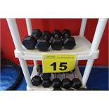 LOT OF (5) PAIRS OF 8 LBS DUMBBELLS