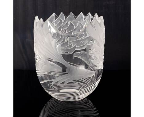 Steuben, a modern crystal bowl etched with three eagles in flight, 23cm high, in presentation case
