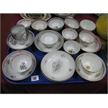 XVIII Century English Pottery Tea Bowls and Saucers, (some damages):- One Tray