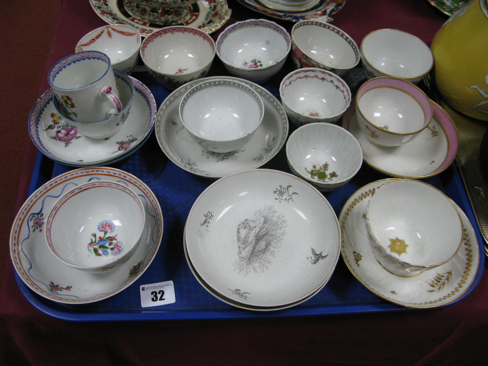 Lot 32 - XVIII Century English Pottery Tea Bowls and Saucers, (some damages):- One Tray