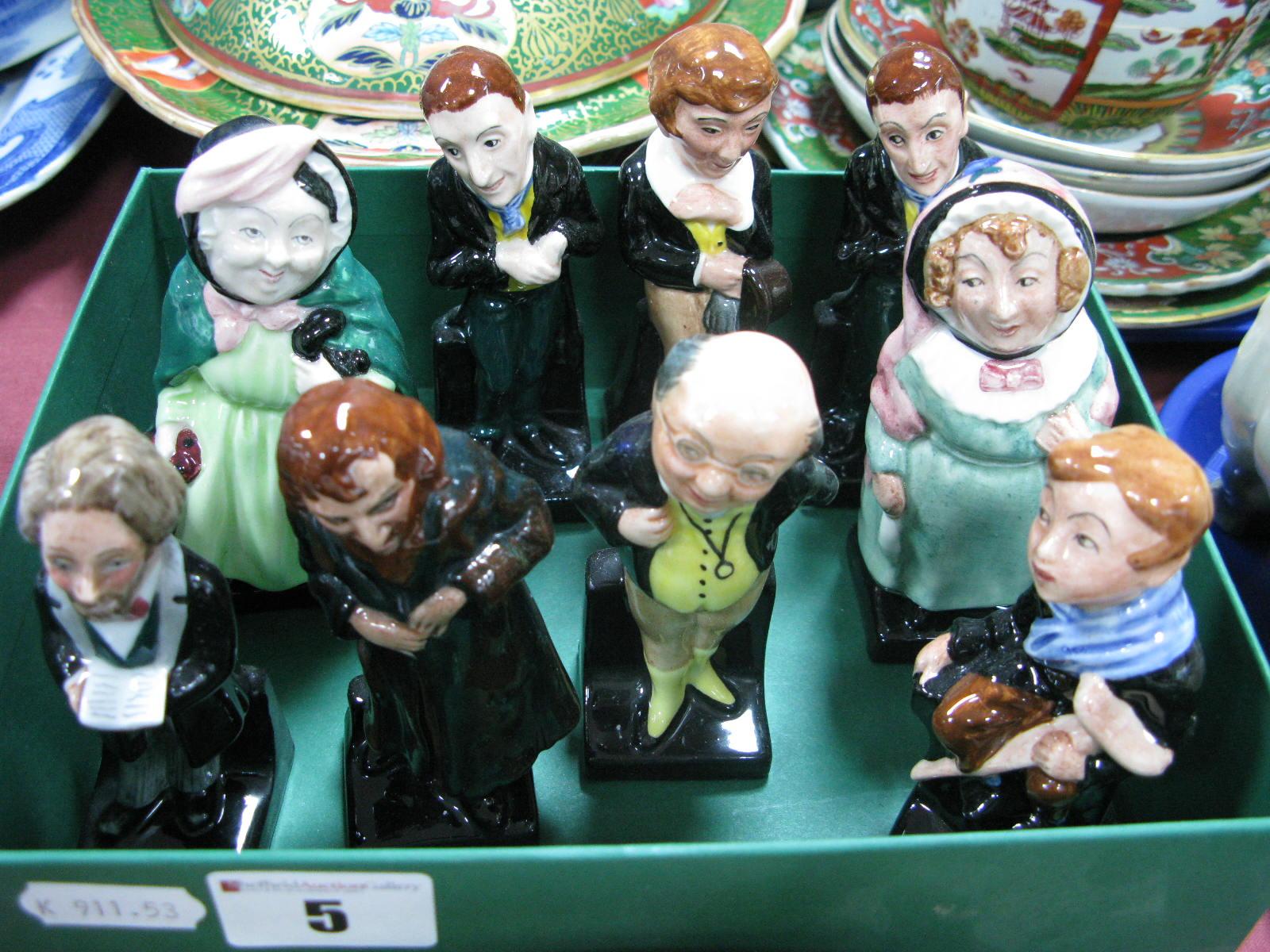 Lot 5 - Eight Royal Doulton Dickens Characters: Sairey Gamp, Fagin, Pickwick, Uriah Heep (2), David