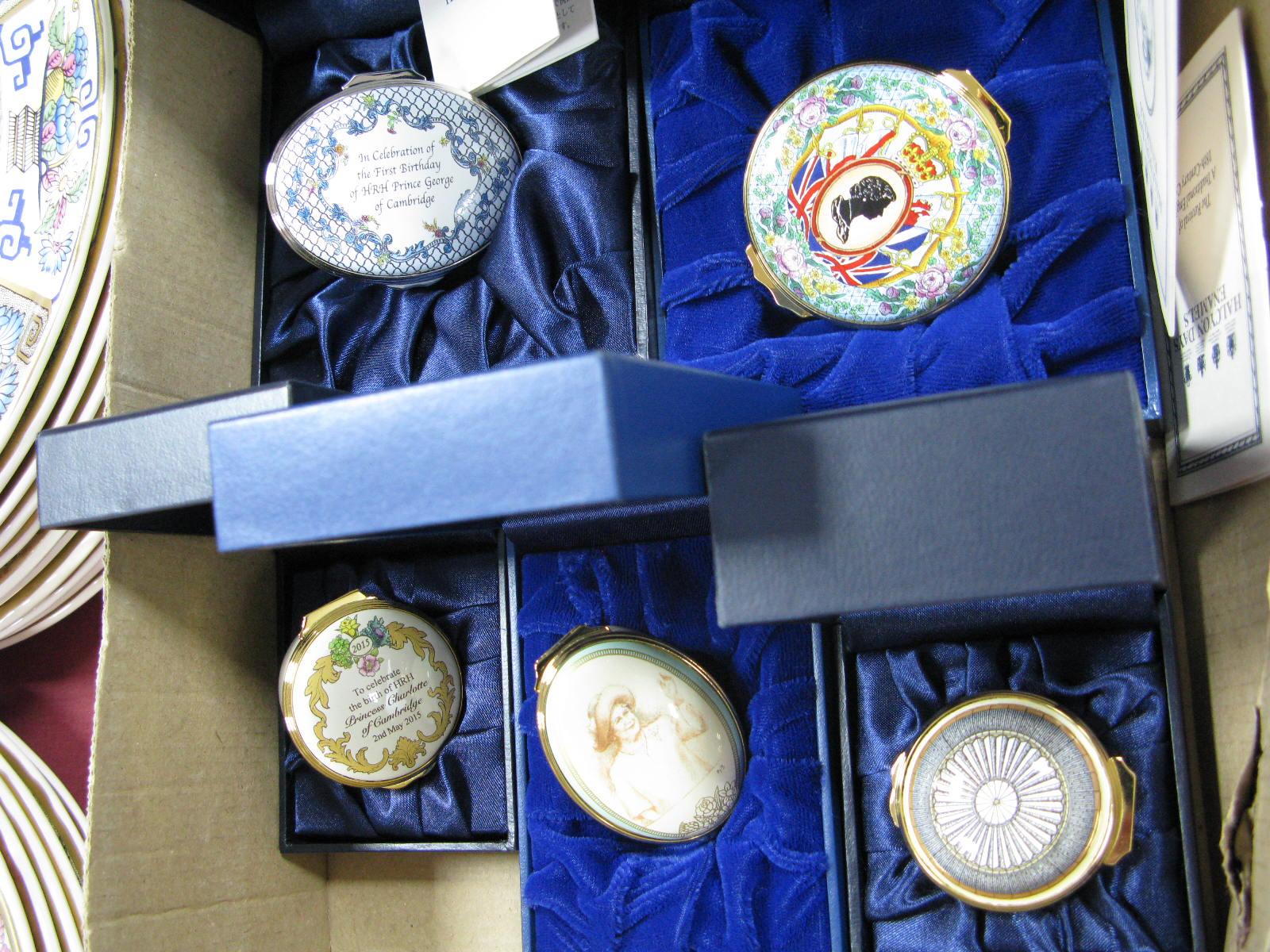 Lot 9 - Halcyon Days Enamelled Trinket Boxes, Golden Jubilee, Floral, Queen Mother, Charlotte, George,