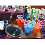 Handkerchief Style Vases, oval dish, other coloured glassware:- One Tray