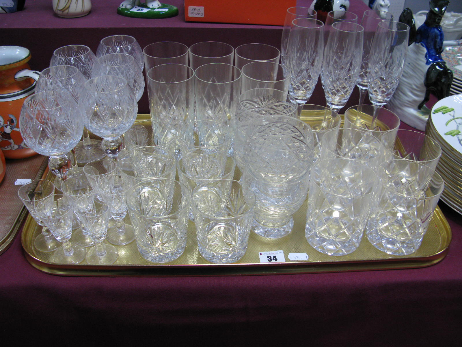 Lot 34 - Drinking Glasses, to include whiskey, liqueur, champagne:- One Tray