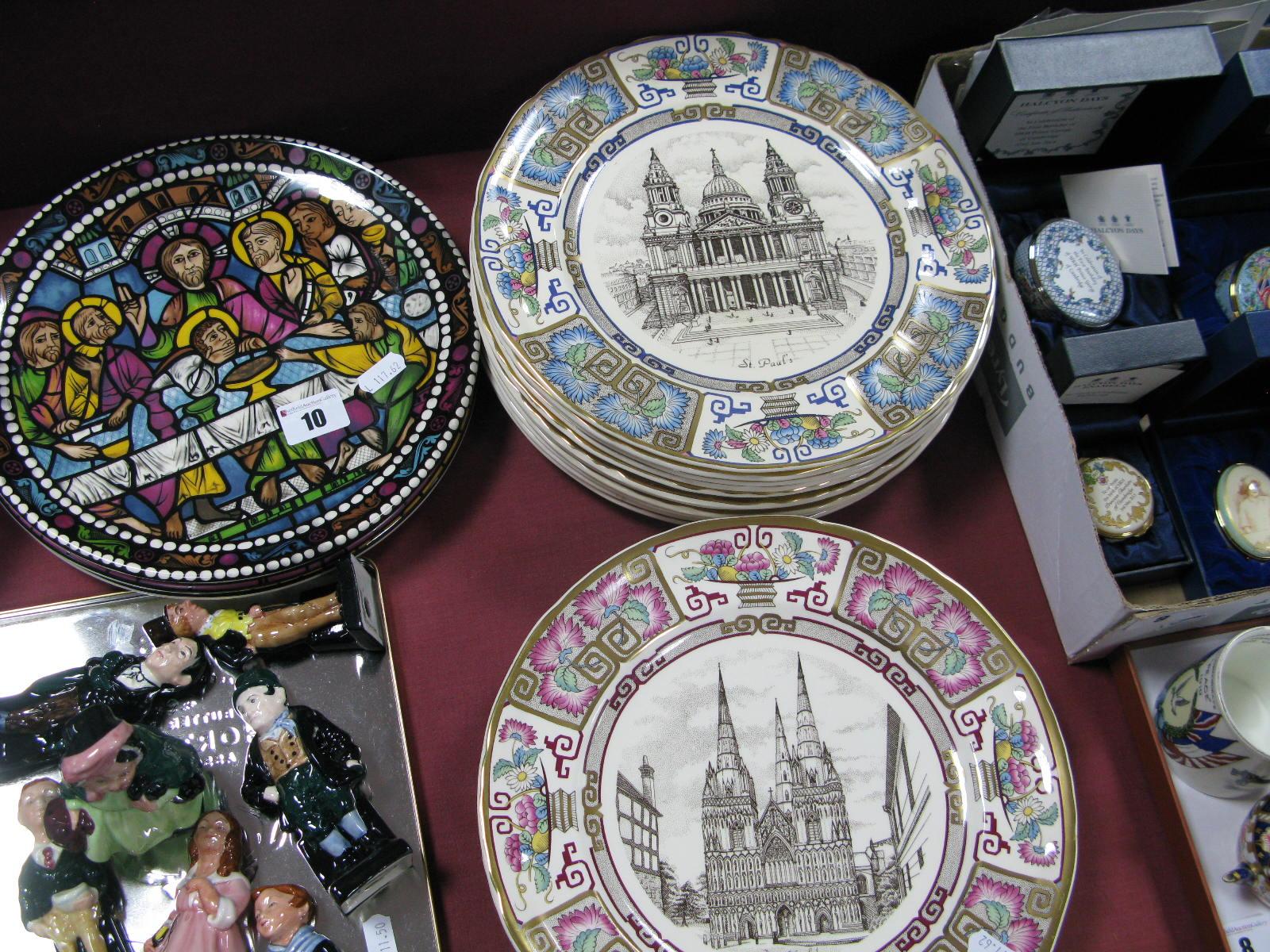 Lot 10 - Seventeen Mason's Christmas Plates; Lichfield 1981 (4); St Pauls 1982 (4); Durham 1983 (2); Wells
