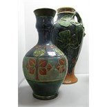 An Early XX Century(?) Continental Pottery Jug, with applied decoration; together with a Majolica