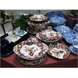 A Mid to Late XIX Century Ashworth Bros. Ironstone Pottery Part Dinner Service, decorated with