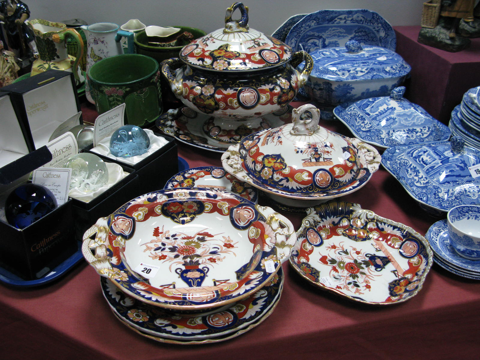 Lot 20 - A Mid to Late XIX Century Ashworth Bros. Ironstone Pottery Part Dinner Service, decorated with