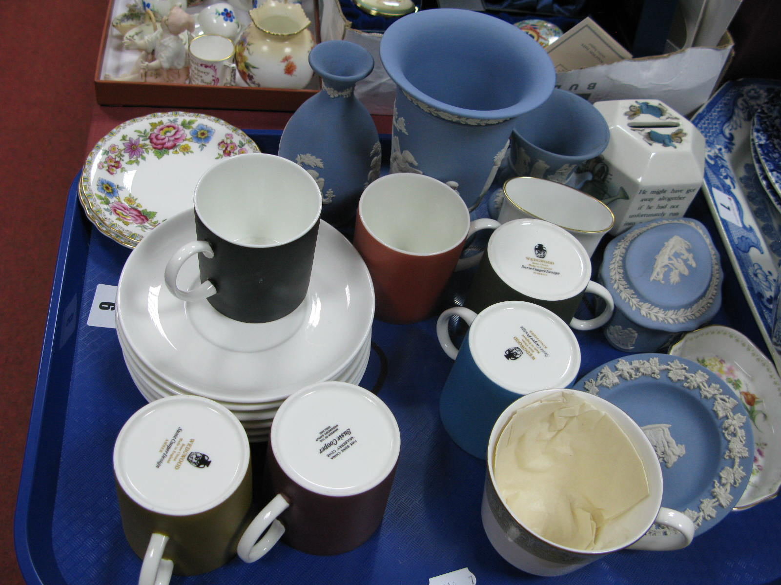 Lot 6 - Wedgwood 'Susie Cooper' Harlequin Coffee Set, Jasperware trinkets, Peter Rabbit hexagonal money box,