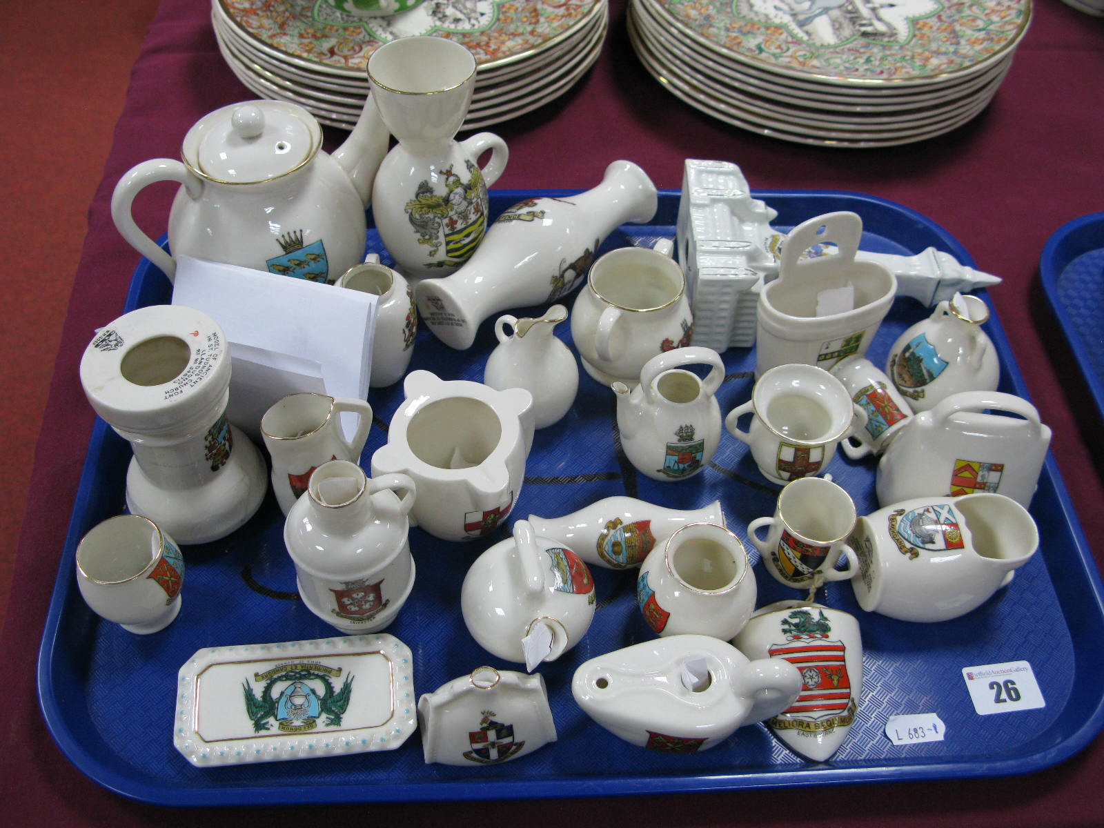 Lot 26 - A Collection of 'Goss' Crested China, including 'Sussex' teapot, 'Blackpool' goblet and a Wilton