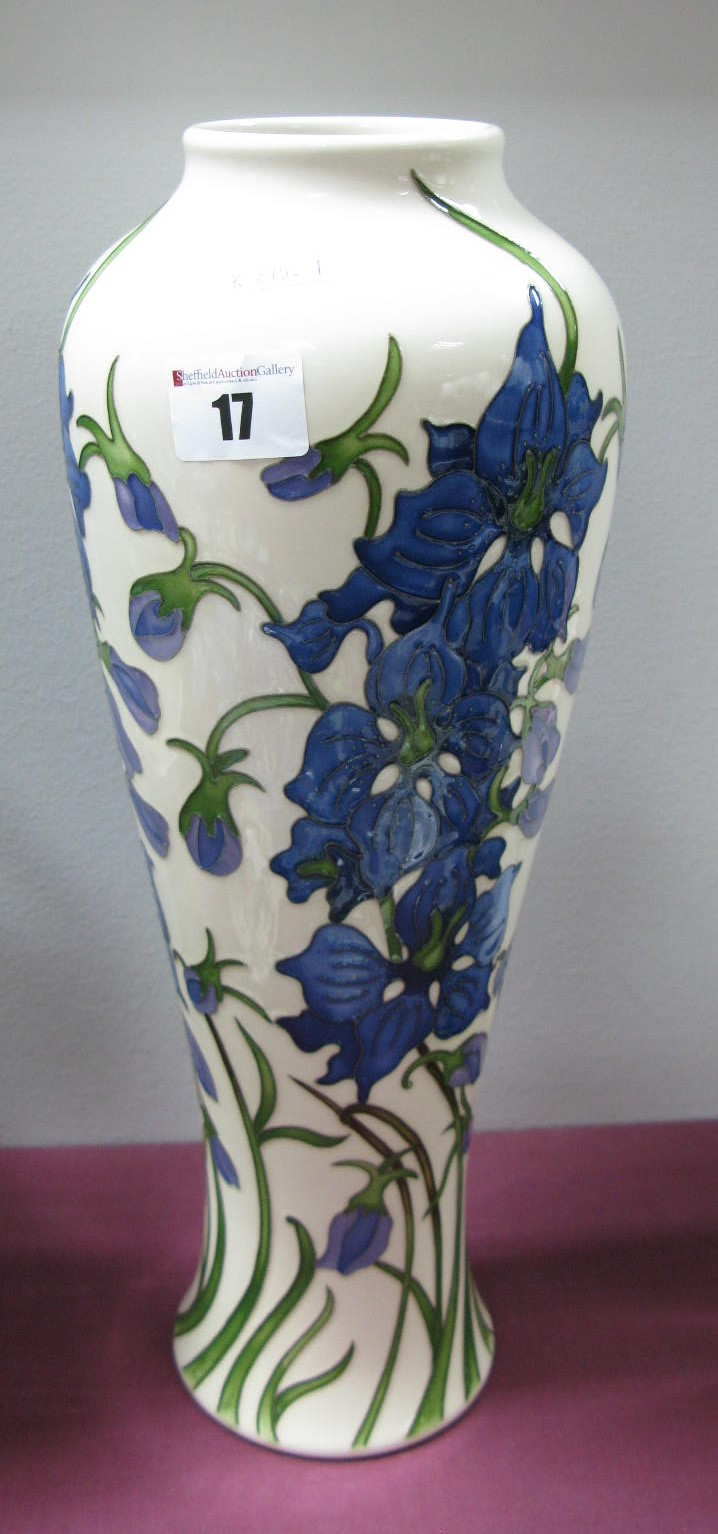 Lot 17 - A Moorcroft Pottery Vase, painted in the Delphinium pattern by Kerry Goodwin, shape 121/14,