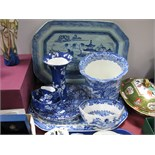Ashworth 'Old Canton' and Mason's 'Willow Pattern' Meat Plates, other blue and white pottery.