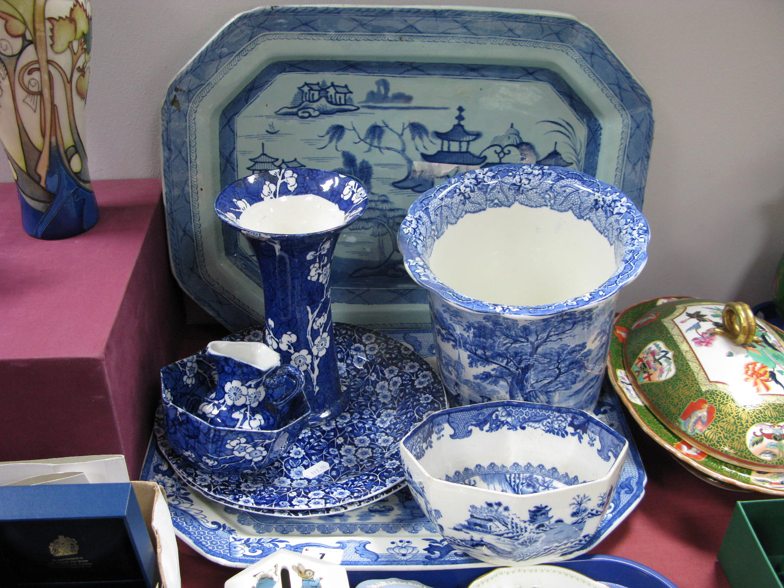 Lot 7 - Ashworth 'Old Canton' and Mason's 'Willow Pattern' Meat Plates, other blue and white pottery.