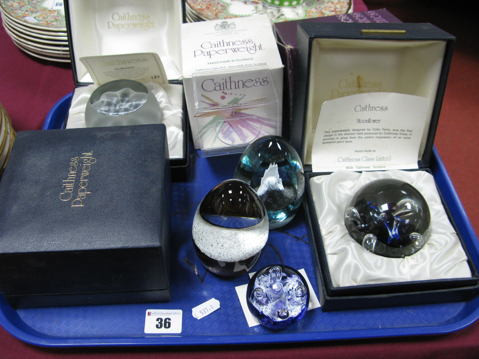 Lot 36 - Caithness Paperweights: Ice Blossom, limited edition No. 130/1000; Alpine Winter No. 157/650;