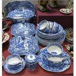 Copeland 'Italian' Spode Blue and White Pottery, to include three tureens, two meat plates, sauce