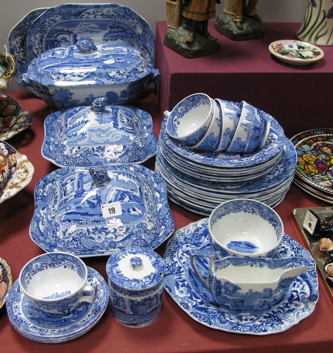 Lot 19 - Copeland 'Italian' Spode Blue and White Pottery, to include three tureens, two meat plates, sauce