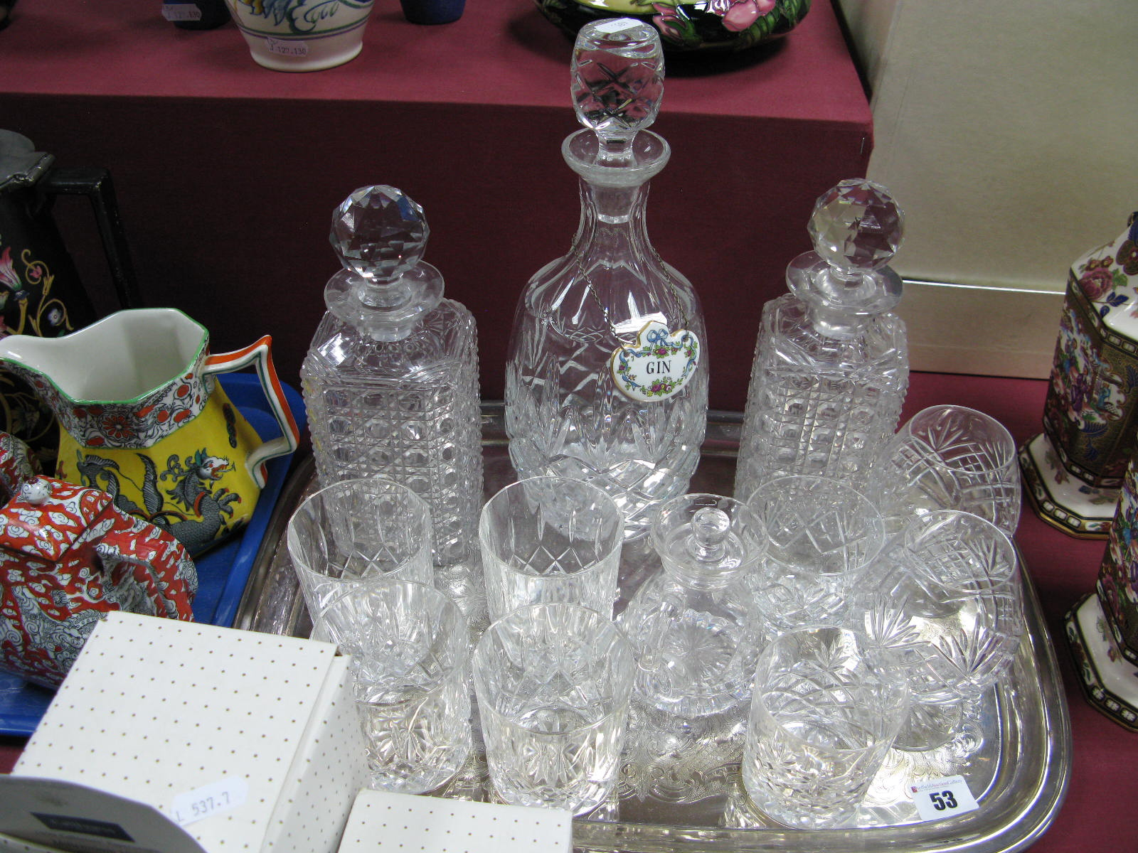 Lot 53 - A Pair of Hobnail Whisky Decanters, gin decanter, whisky and brandy glasses, water bottle, plated