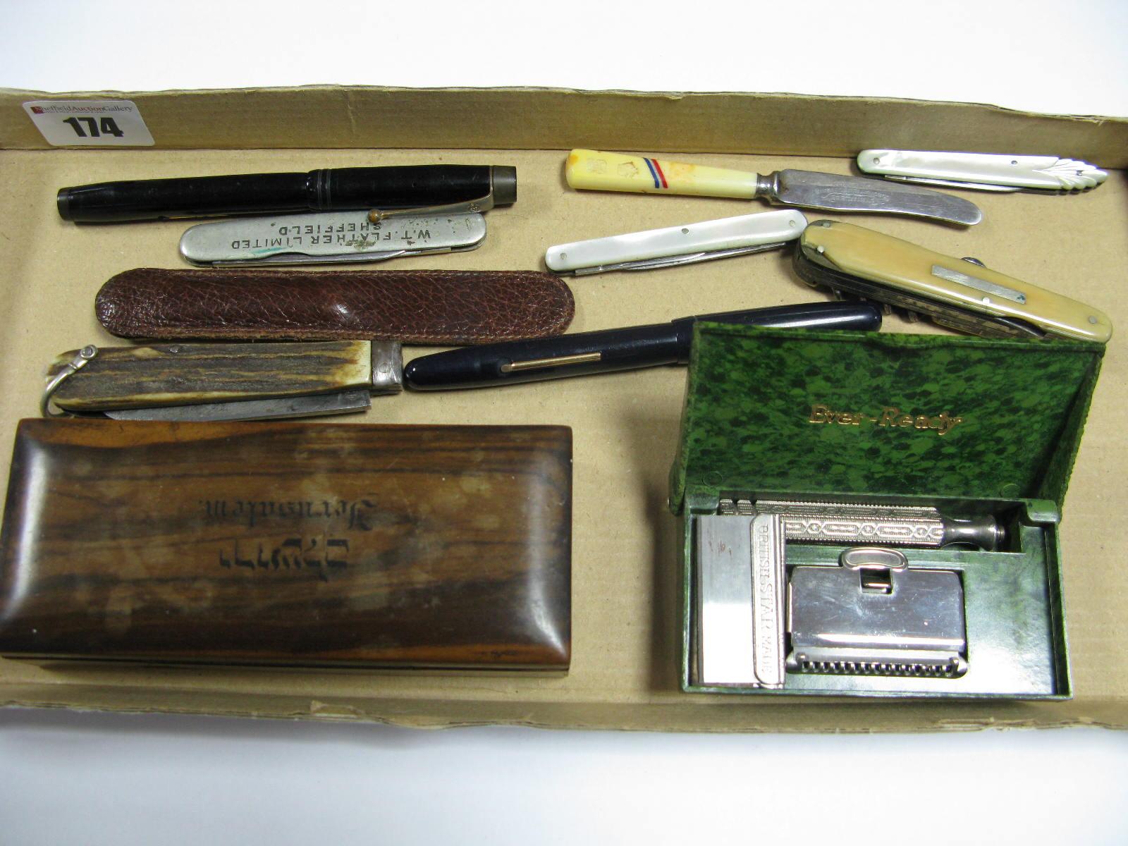 "Lot 174 - ""The De La Rue Pen"", with ""14ct"" nib, Swan self filler pen, multi and single blade folding pocket"