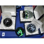 Caithness Paperweights: Black Gem, limited edition No. 58/1000; Harlequin Double and Kaleidoscope,