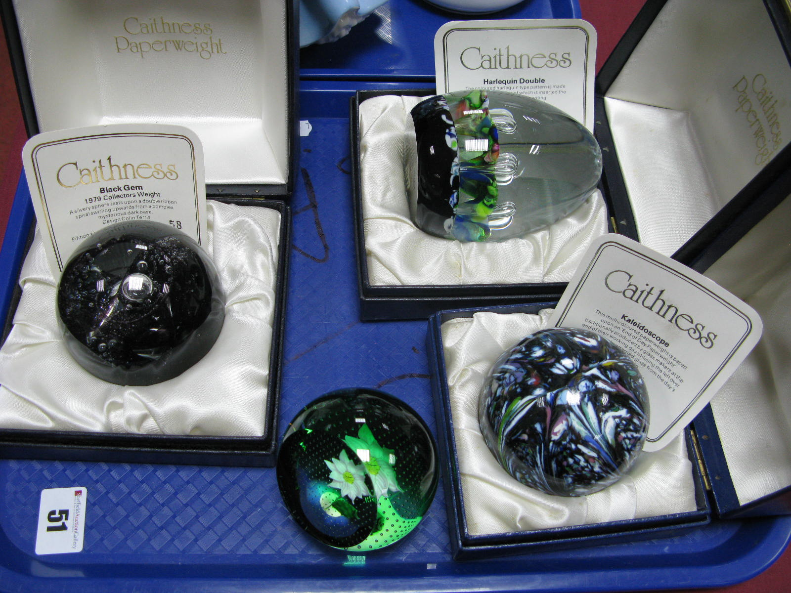 Lot 51 - Caithness Paperweights: Black Gem, limited edition No. 58/1000; Harlequin Double and Kaleidoscope,