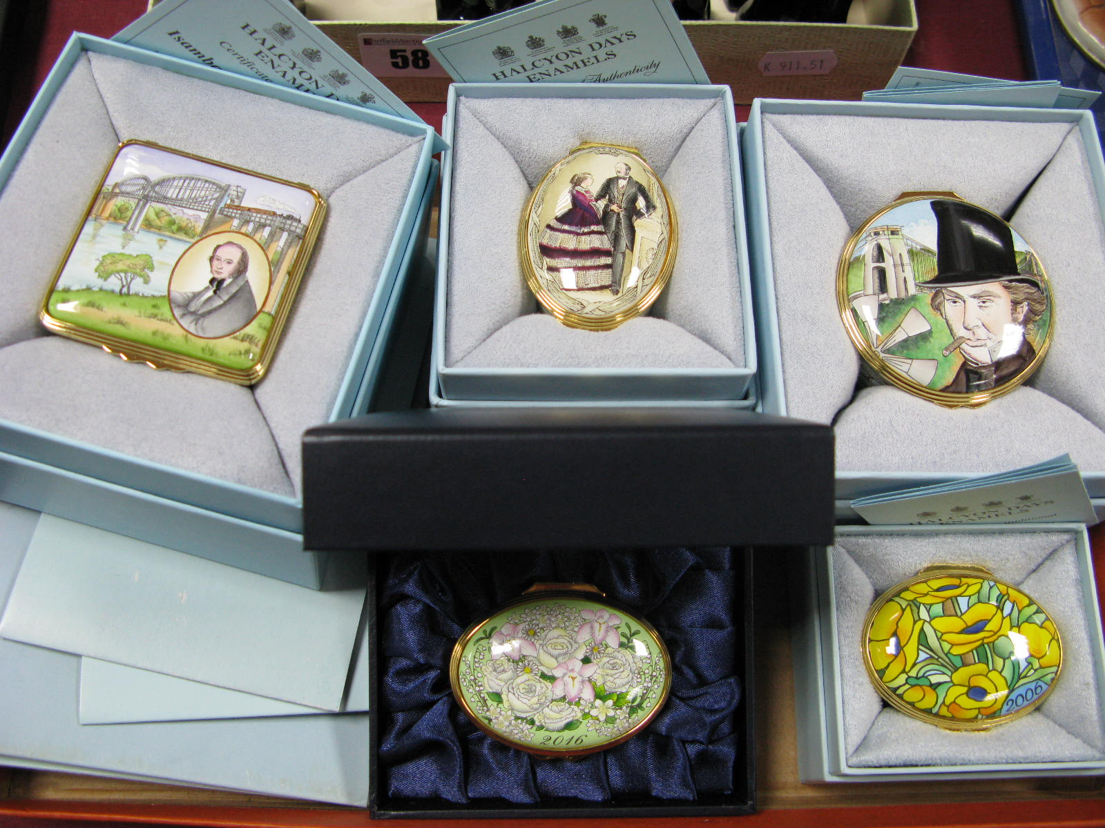 Lot 57 - Halcyon Days Enamelled Trinket Boxes, 'The Prince Consort', two I. K. Brunel, 2006 and 2016 year