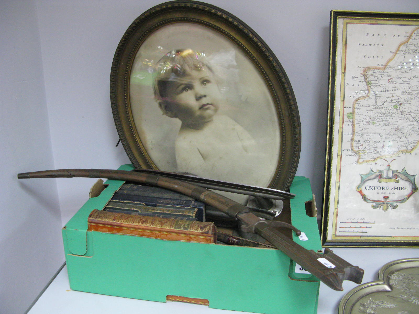 Lot 335 - Starr MFG. Co 'Rex' Ice Skates, books, oval photograph, Tulwar type knife with wire binding to