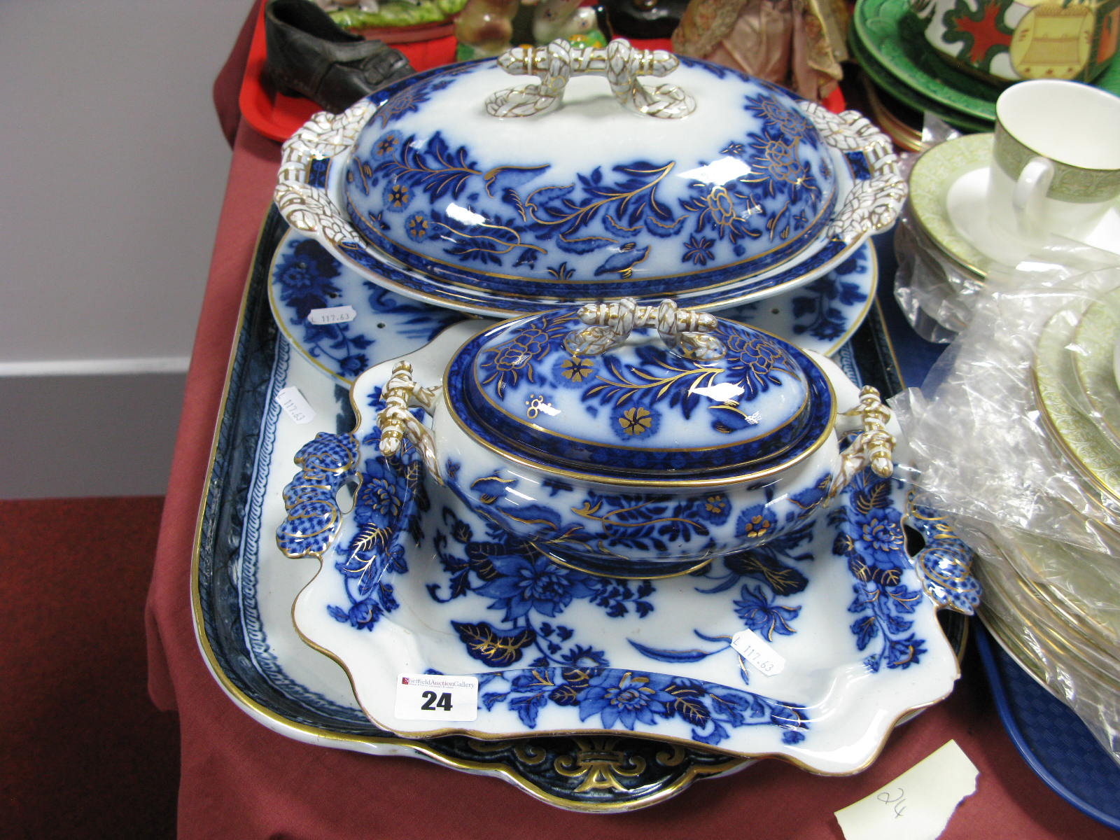Lot 24 - A XIX Century Ashworth Ironstone Twin Handled Tray, printed in blue with a Chinoiserie scene, gilt