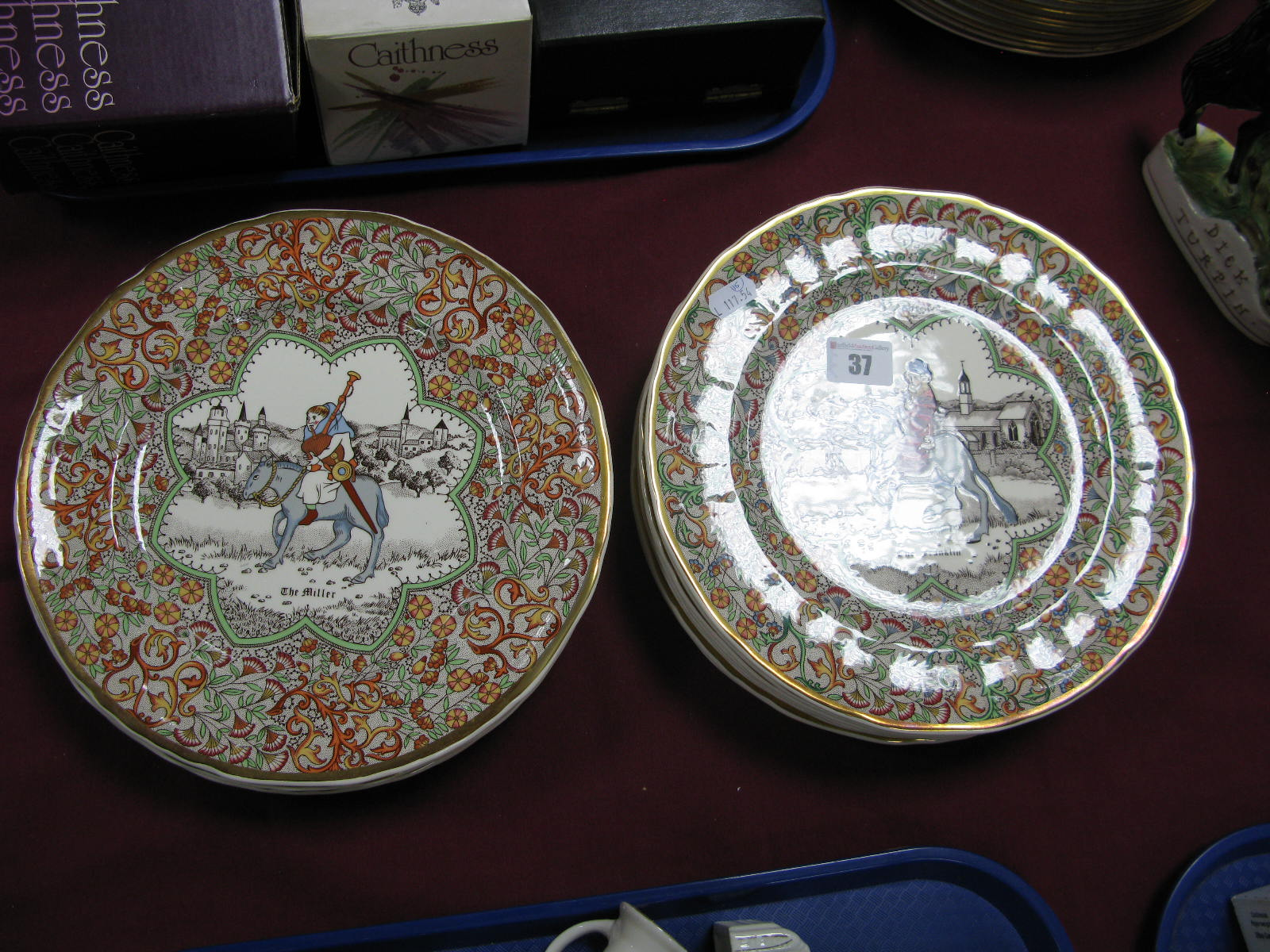 Lot 37 - Mason's Chaucer's Canterbury Pigrims Plates: The Knight 1981 (3), The Nuns Priest 1982 (2), The