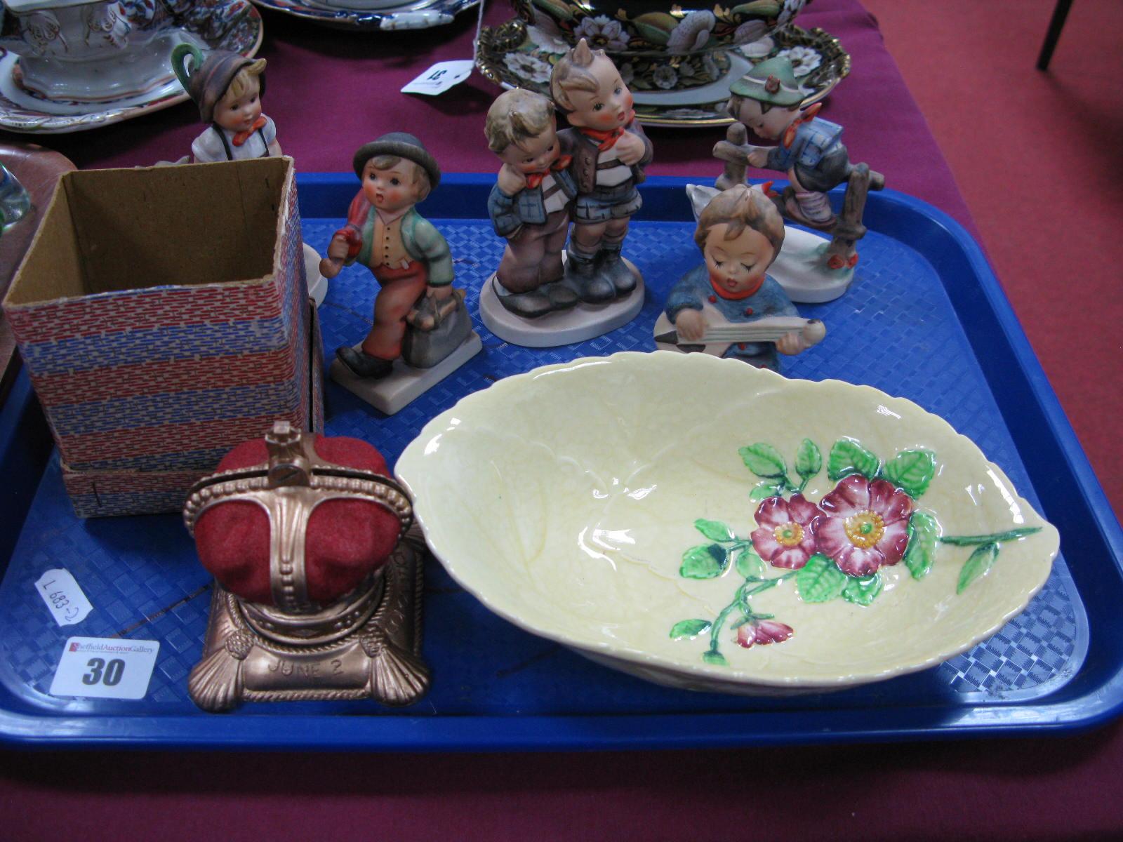 Lot 30 - Five Hummel Figures, Carlton Ware Apple Blossom leaf moulded bowl and a Queen Elizabeth II