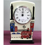 A Moorcroft Pottery Clock, painted in the Londinium pattern by Nicola Slaney, impressed and