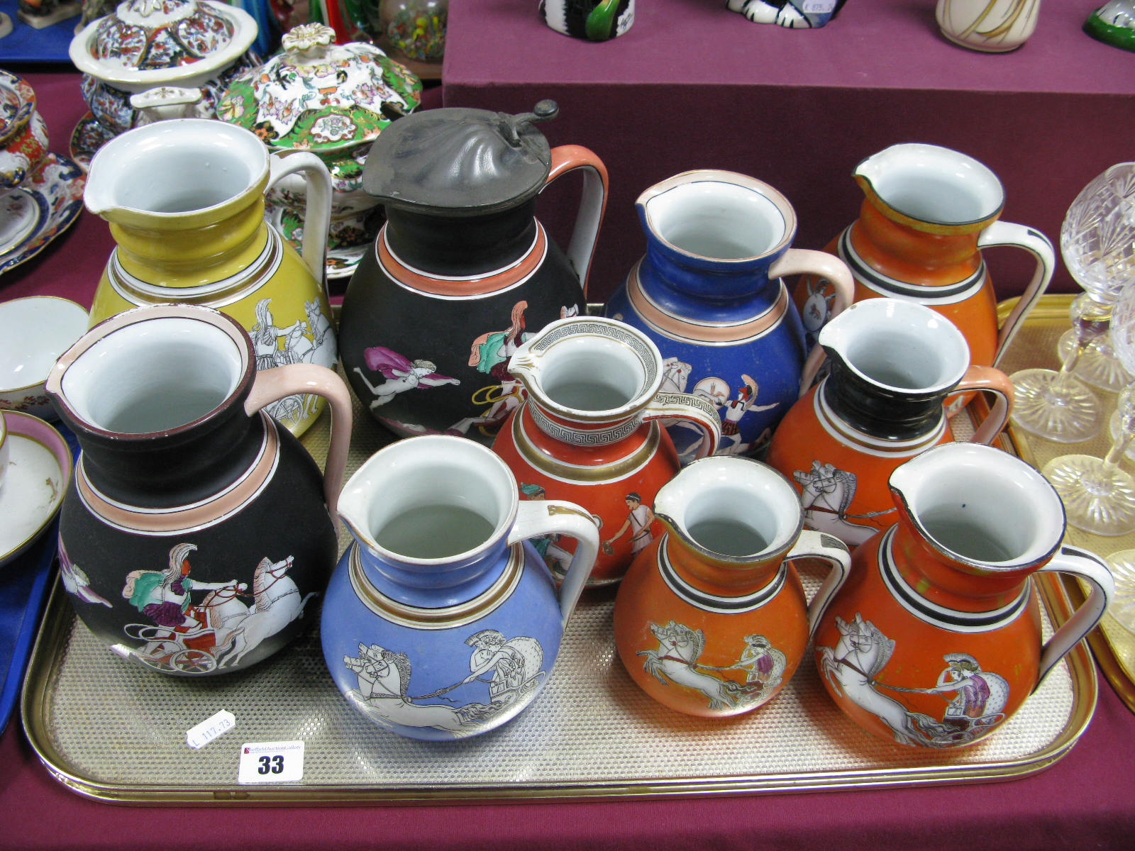 Lot 33 - A Collection of XIX Century Neoclassical Scene Jugs, in various colours.