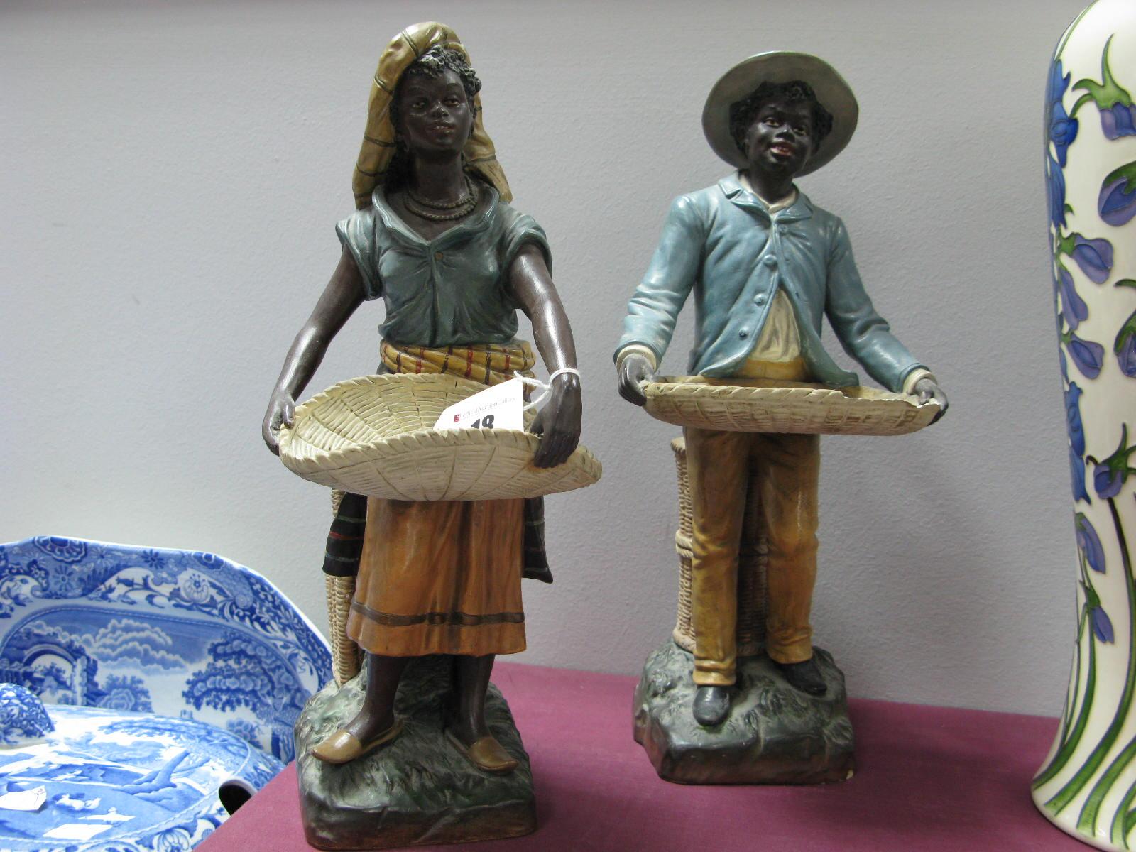 Lot 18 - A Pair of Early XX Century Austrian Terracotta Figures, modelled as Moorish basket sellers in