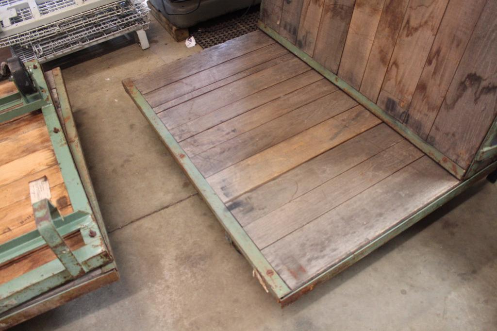 Lot 38 - Oak flatbed factory carts