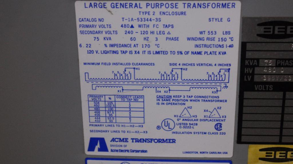 Lot 43 - BEE 75 KVA Transformer