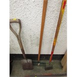 THREE LONG HANDLED GARDEN TOOLS
