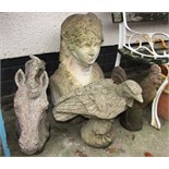 FOUR STONEWARE GARDEN ORNAMENTS - BUST, HORSE'S HEAD, EAGLE AND COCKEREL