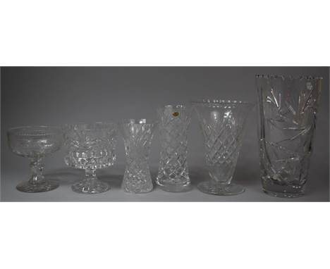 A Collection of Various Cut Glass to Include Large Cut Glass Vase (30cm High), Whitefriars Vase etc