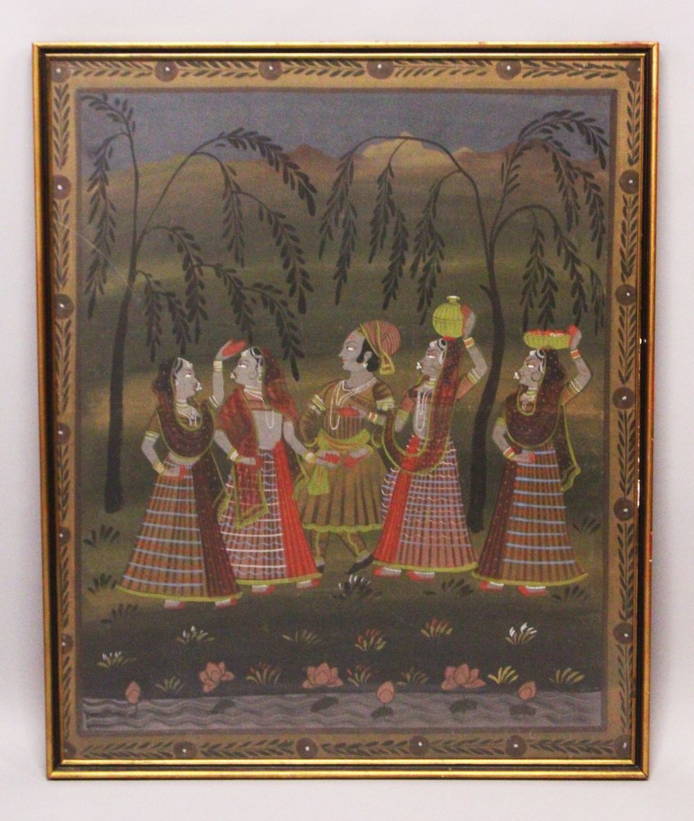 Lot 47 - A 19TH-20TH CENTURY FRAMED INDIAN PAINTING ON TEXTILE depicting a prince stood in landscape
